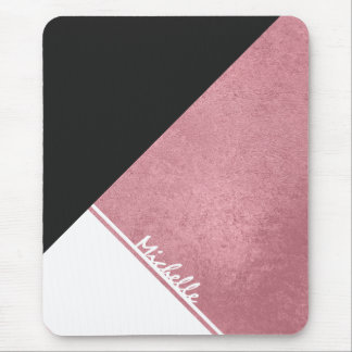 Modern White Rose Gold Black triangle Mouse Pad