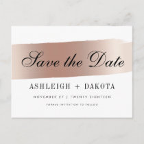 Modern White Rose Gold Brush Stroke Save The Date Announcement Postcard
