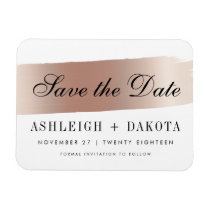 Modern White Rose Gold Brush Stroke Save The Date Magnet