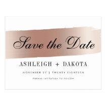 Modern White Rose Gold Brush Stroke Save The Date Postcard
