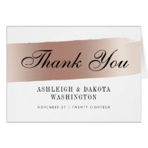 Modern White & Rose Gold Brush Stroke Thank You Card