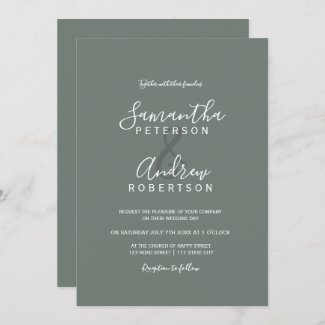 Modern white sage green wedding invitation with simple typography