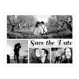 Modern White Save The Date Collage Postcard