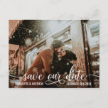"""Modern White Script Wedding SAVE OUR DATE w/ PHOTO Announcement Postcard<br><div class=""""desc"""">Elegant and modern SAVE OUR DATE postcards to send your guests.  White script calligraphy with photo / image / picture.  Online personalized templates for ease of editing. Add your text in front and back of card.  Contact designer for special requests.</div>"""