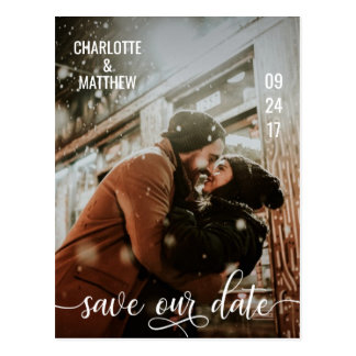 Modern White Script Wedding SAVE OUR DATE w/ PHOTO Postcard