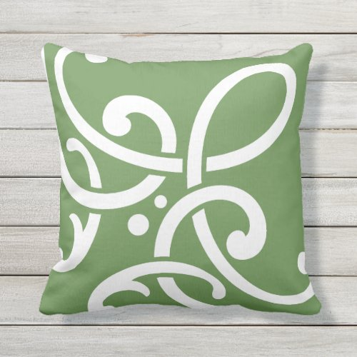 Modern white scrolls on green outdoor pillow
