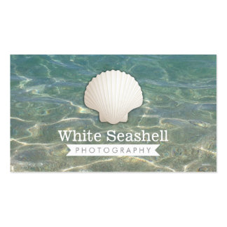Modern White Seashell Photography Business Cards