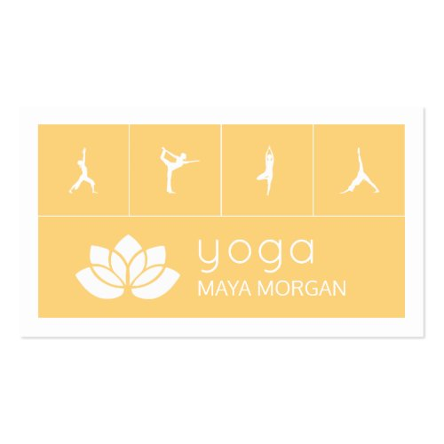 Modern White Lotus Yoga Business Card