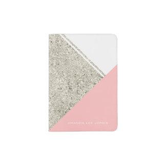 Modern White Silver Glitter Pink triangle Passport Holder