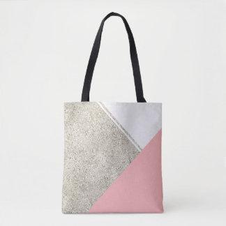 Modern White Silver Glitter Pink triangle Tote Bag