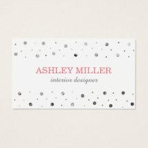 Modern White & Silver Polka Dot Business Card