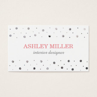Modern White & Silver Polka Dot Business Card