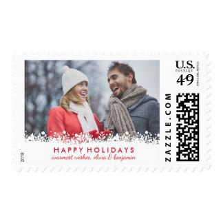 Modern White Snowflake Border Holiday Photo Postage