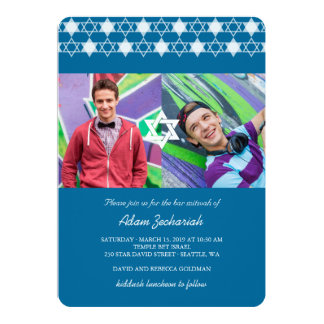 "Modern White Stars Of David Bar Mitzvah Invite 5"" X 7"" Invitation Card"