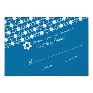 Modern White Stars Of David Bar Mitzvah RSVP Card