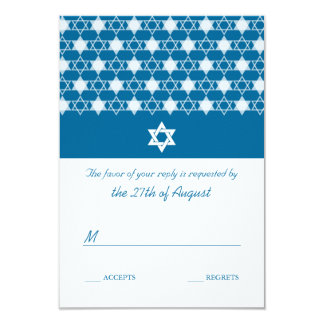 "Modern White Stars Of David Bar Mitzvah RSVP Card 3.5"" X 5"" Invitation Card"