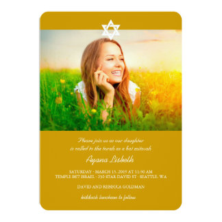 "Modern White Stars Of David Bat Mitzvah Invite 5"" X 7"" Invitation Card"