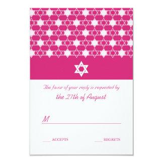 "Modern White Stars Of David Bat Mitzvah RSVP Card 3.5"" X 5"" Invitation Card"