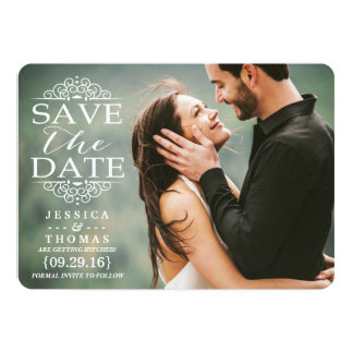 Modern White Swirls | Custom Photo Save The Date Card