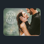 "Modern White Swirls | Custom Photo Save The Date Magnet<br><div class=""desc"">Modern White Swirls 