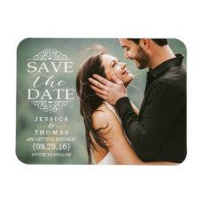 Modern White Swirls   Custom Photo Save The Date Magnet