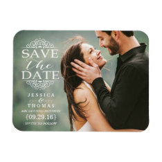 Modern White Swirls | Custom Photo Save The Date Magnet at Zazzle
