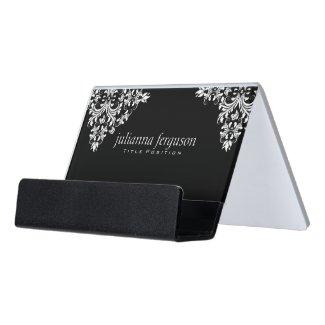 Modern White Swirls Over Black Background Desk Business Card Holder