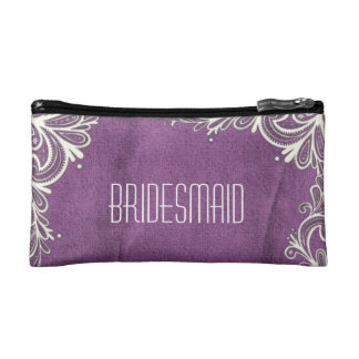 modern white swirls purple bridesmaid makeup bag