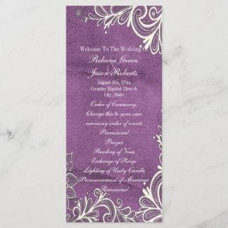modern white swirls purple wedding programs
