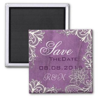 modern white swirls purple wedding save the date magnet
