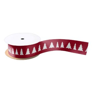Modern White Trees on Maroon Christmas Pattern Satin Ribbon