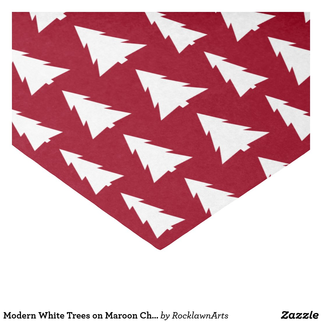 Modern White Trees on Maroon Christmas Pattern Tissue Paper