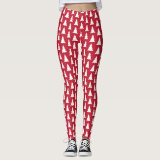 Modern White Trees on Red Christmas Pattern Leggings