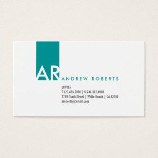Modern White Turquoise Monogram Business Card