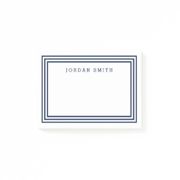 Beach Themed Modern White with Triple Navy Blue Borders Post-it Notes