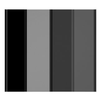 Modern wide black and gray stripes poster