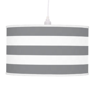 Modern Wide Striped Pendant Lamp in Gray