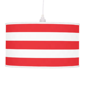 Modern Wide Striped Pendant Lamp in Red