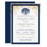 Modern Willow Tree Navy Gold Wedding Invitation