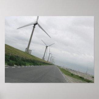 Modern Wind Turbines on a Dutch Dike Photo Poster