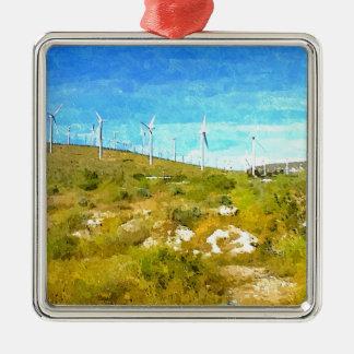 Modern Windmills Metal Ornament
