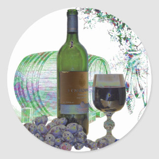 Modern Wine and Grapes Art Classic Round Sticker