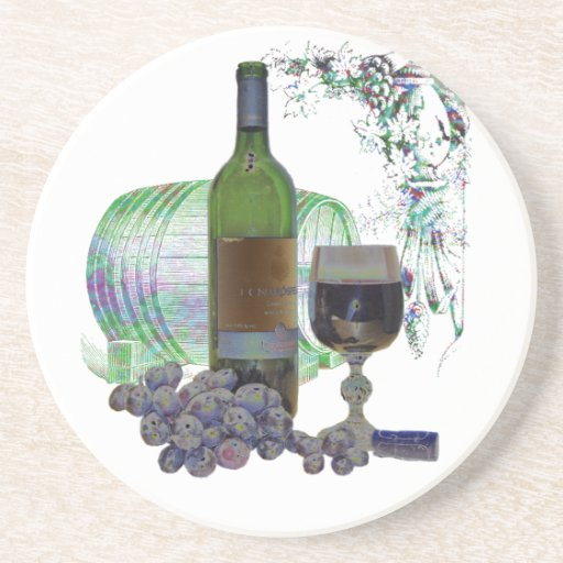 Modern Wine and Grapes Art Coaster