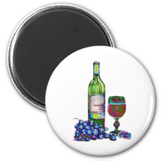 Modern Wine and Grapes Art Gifts 2 Inch Round Magnet