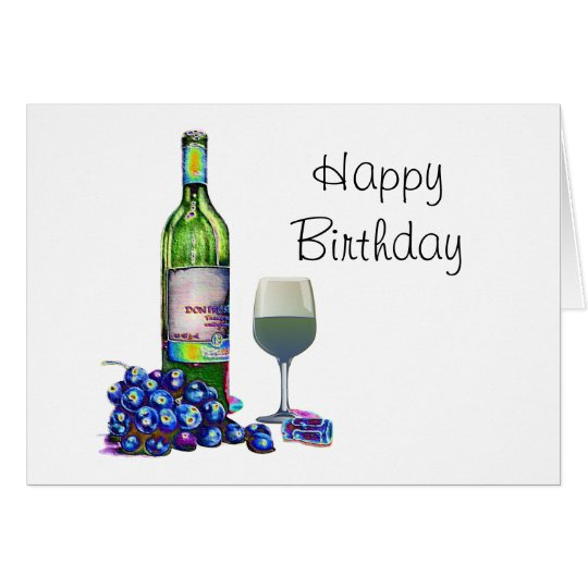 Modern Wine and grapes art gifts Card
