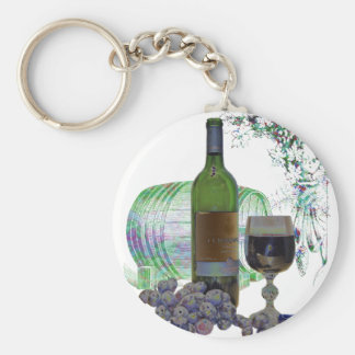 Modern Wine and Grapes Art Keychain