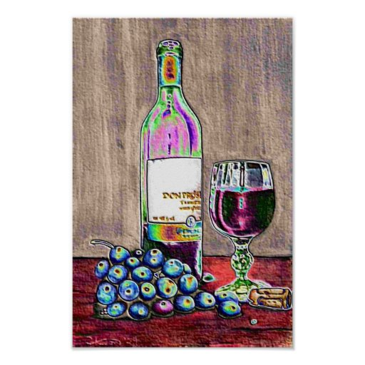 Modern Wine and Grapes Art Poster