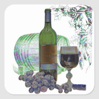 Modern Wine and Grapes Art Square Sticker