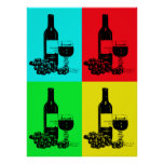 Modern Wine and Grapes Pop-Art Poster