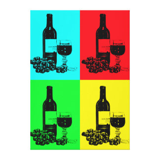 Modern Wine and Grapes Pop-Art  Wrapped Canvas